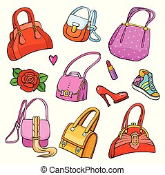 Pop art style fashion background with accessories