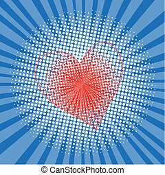 Pop art style halftone explosion with light rays and heart