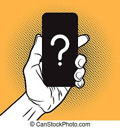 Smartphone in Hand - Pop Art Style Mokup with unknown ...