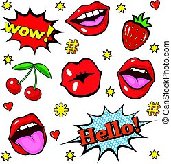 Pop art style stickers - Background with fashion patch...