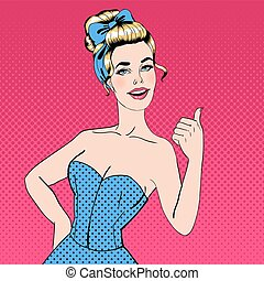 Pop Art Style Woman Gesturing Great