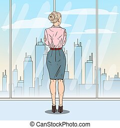 Pop Art Successful Business Woman Looking at City Through the Window. Vector illustration
