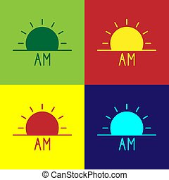 Pop art Sunrise icon isolated on color background. Vector Illustration