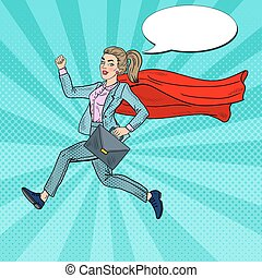 Pop Art Super Business Woman with Red Cape Running with...