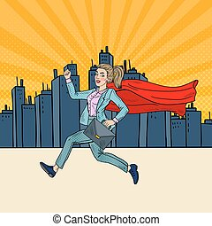 Pop Art Super Business Woman with Red Cape Running with Briefcase. Vector illustration