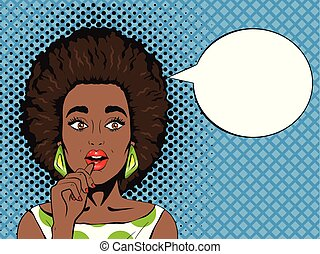 Pop art surprised african woman with open mouth and speech...