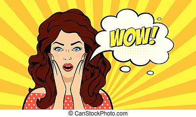 Pop art surprised brunette woman face with open mouth. Sexy surprised Comic young woman with speech bubble. Vector illustration.