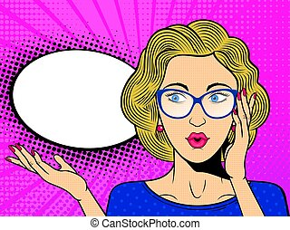 Pop art surprised female face with. Comic blonde woman in glasses with speech bubble.