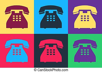Pop art Telephone icon isolated on color background. Landline phone.  Vector