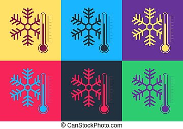 Pop art Thermometer with snowflake icon isolated on color background. Vector