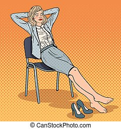 Pop Art Tired Business Woman Relaxing on Chair