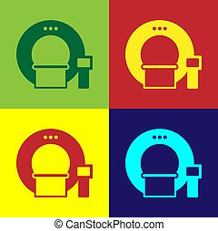 Pop art Tomography icon isolated on color background. Medical scanner, radiation. Diagnosis, radiology, magnetic resonance therapy. Vector Illustration
