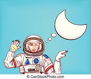 Pop art vector astronaut girl in spacesuit