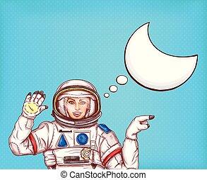 Pop art vector astronaut girl in spacesuit