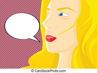 Pop art vector illustration of a wo