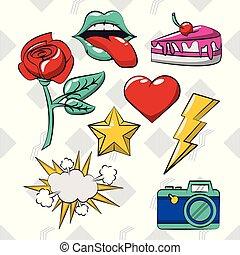 Pop art vibrant retro card collection background