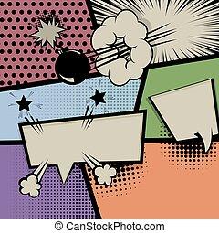 Pop art vintage background comic balloon
