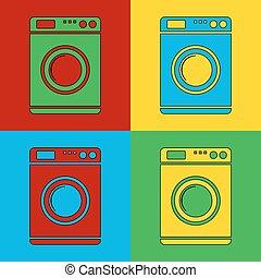 Pop art washing machine simbol icons. Vector illustration.