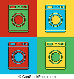 Pop art washing machine simbol icons. Vector illustration.
