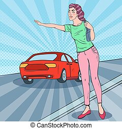 Pop Art Woman Catching a Car in the City Road. Vector illustration