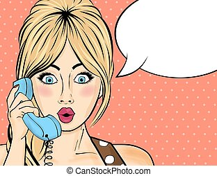Pop art woman chating on retro phone . Comic woman with speech bubble
