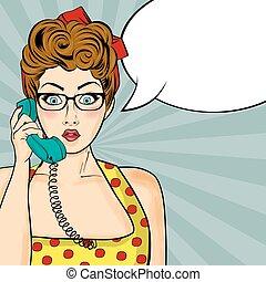 Pop art woman chatting on retro phone . Comic woman with...