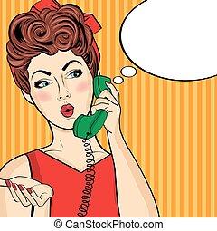 Pop art woman chatting on retro phone . Comic woman with speech bubble
