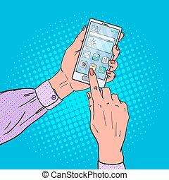 Pop Art Woman Hands Using Smart phone. Mobile Technologies. Vector illustration
