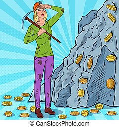 Pop Art Woman in Helmet with Pickaxe Mining Bitcoin Coins. Crypto Currency Blockchain Network Technology. Vector illustration