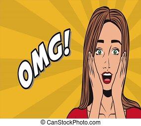 Pop art woman OMG cartoon HD animation - Pop art woman...