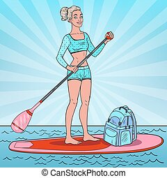 Pop Art Woman on the Stand Up Paddle Board. Girl in Swimsuit on SUP. Vector illustration