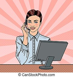 Pop Art Woman Operator Consulting Client on Hotline. Vector illustration