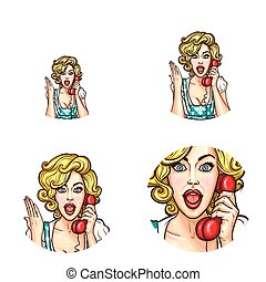 Pop art woman or girl speaking by phone receiver with surprised expression vector isolated retro sketch icons set
