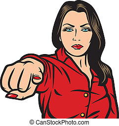 pop art woman pointing at you, beauty girl pointing her finger at you, pop art woman pointing with finger