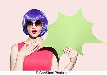 Pop Art Woman Portrait Wearing Purple Wig And Sunglasses....