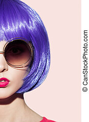 Pop Art Woman Portrait Wearing Purple Wig And Sunglasses.
