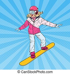 Pop Art Woman Snowboarder on the Slopes. Pretty Girl in Bright Sportswear with Snowboard. Vector illustration