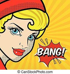 Pop Art Woman Speech Bang Vector Image