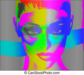 Pop art, woman's face