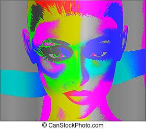 Pop art, woman's face