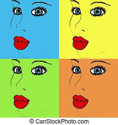 Pop art woman's face