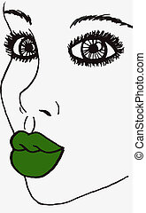 Pop Art Womans Face Green