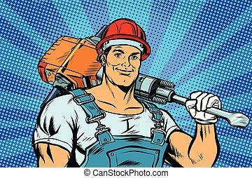 pop art worker with a jackhammer