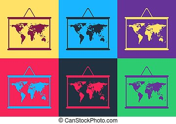 Pop art World map on a school blackboard icon isolated on color background. Drawing of map on chalkboard. Vector