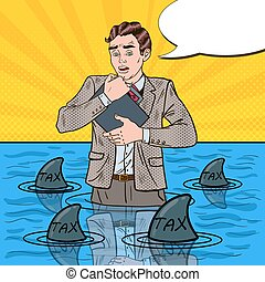 Pop Art Worried Helpless Businessman Swimming with Sharks....