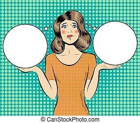 Pop Art Young Beautiful Woman Thinking. Vector illustration
