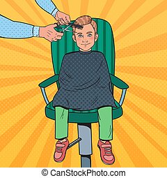 Pop Art Young Boy Getting a Haircut. Kid in Barber Shop. Hairdresser Cutting Child Hair. Vector illustration