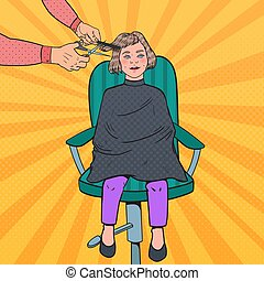 Pop Art Young Girl Getting a Haircut. Kid in Barber Shop. Hairdresser Cutting Child Hair. Vector illustration
