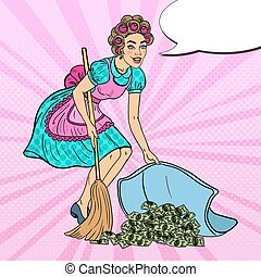 Pop Art Young Housewife Hiding Money Under the Rug