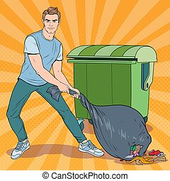 Pop Art Young Man Holding Trash Bag. Guy with Stinky Garbage Bag. Vector illustration